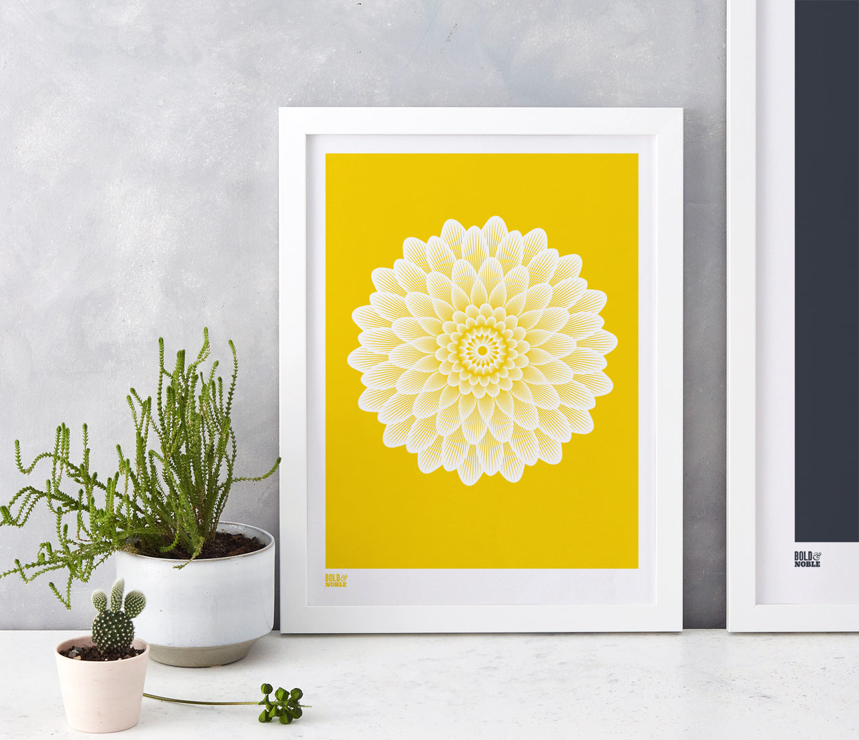 Pictures and Wall Art, Screen Printed Dahlia Waterlily in Bright Yellow