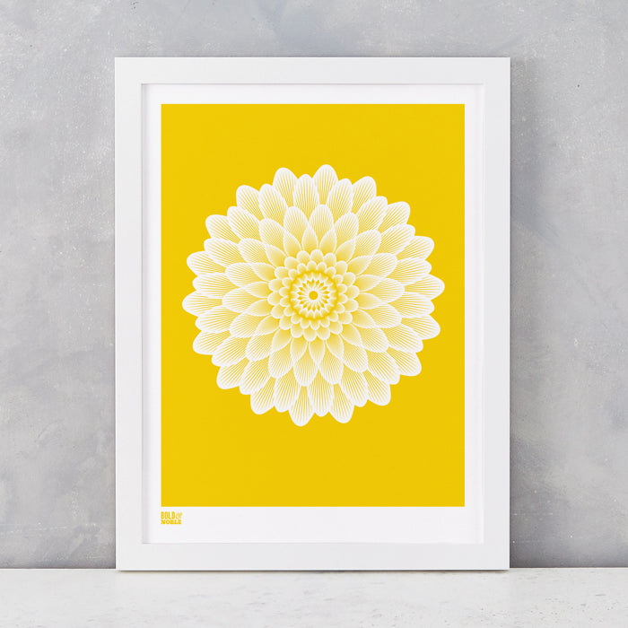 Dahlia Waterlily screen printed on recycled card, in bright yellow, delivered worldwide