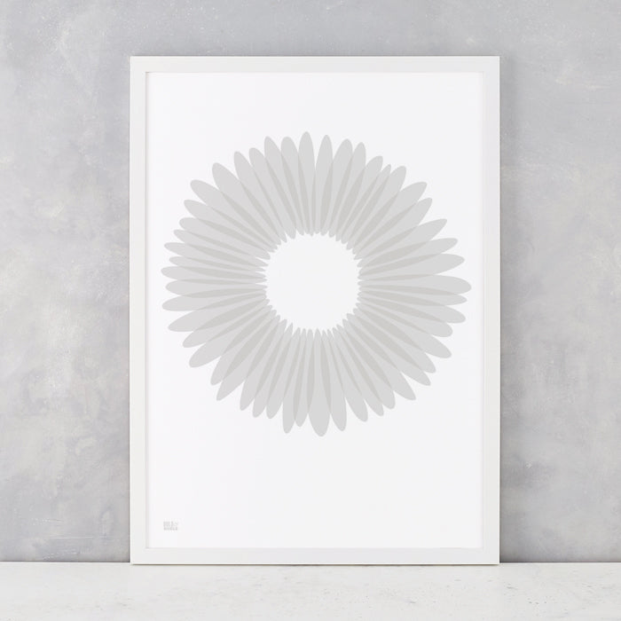 Daisy Petals in Chalk Grey, screen printed onto recycled card, delivered worldwide