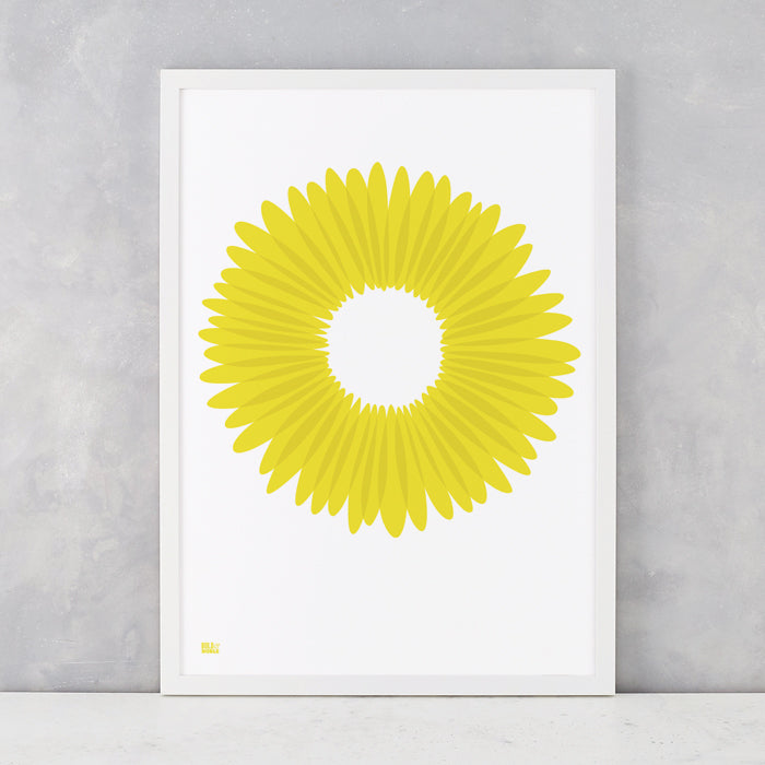 Daisy Petals in Bright Yellow, screen printed onto recycled card, delivered worldwide
