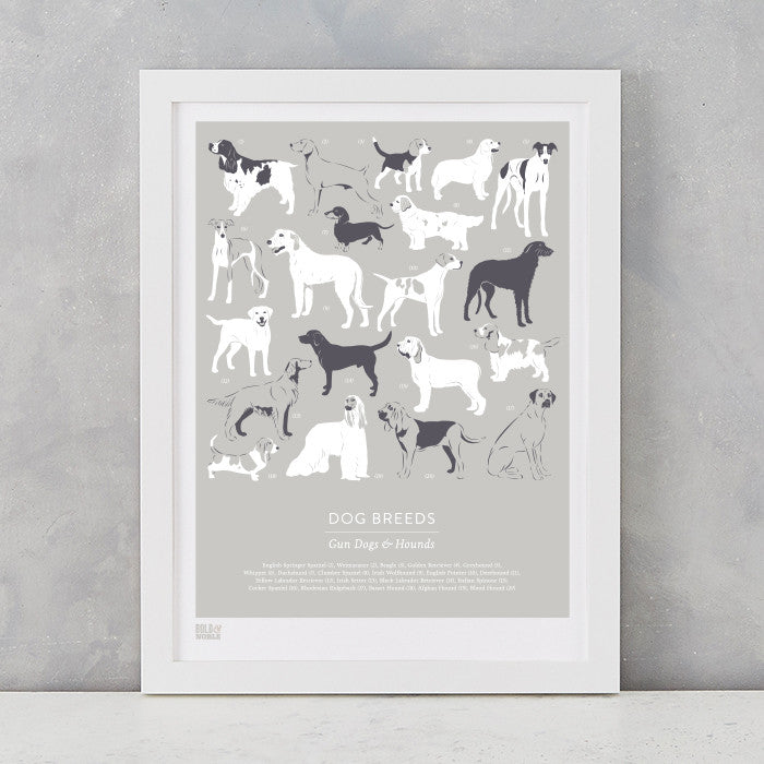 Dog Breeds Print in Putty, Gun Dogs and Hounds, screen printed on recycled card, delivered worldwide