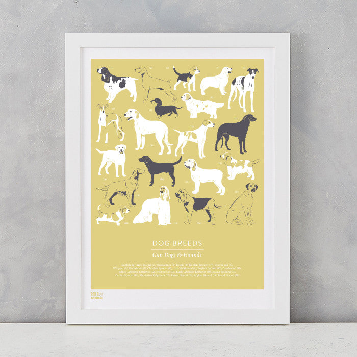 Dog Breeds Print in Light Straw, Gun Dogs and Hounds, screen printed on recycled card, delivered worldwide