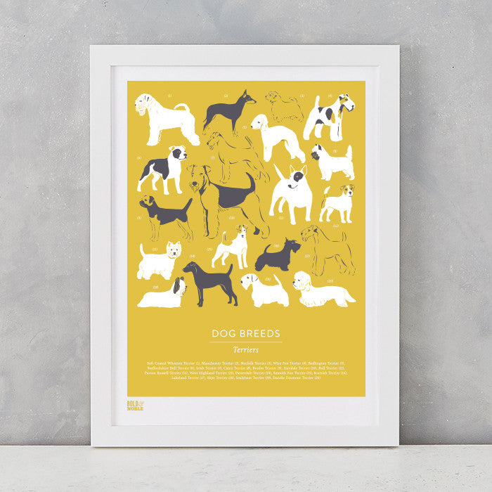 Dog Breeds Print in Gold Hay, Terriers, screen printed on recycled card, delivered worldwide