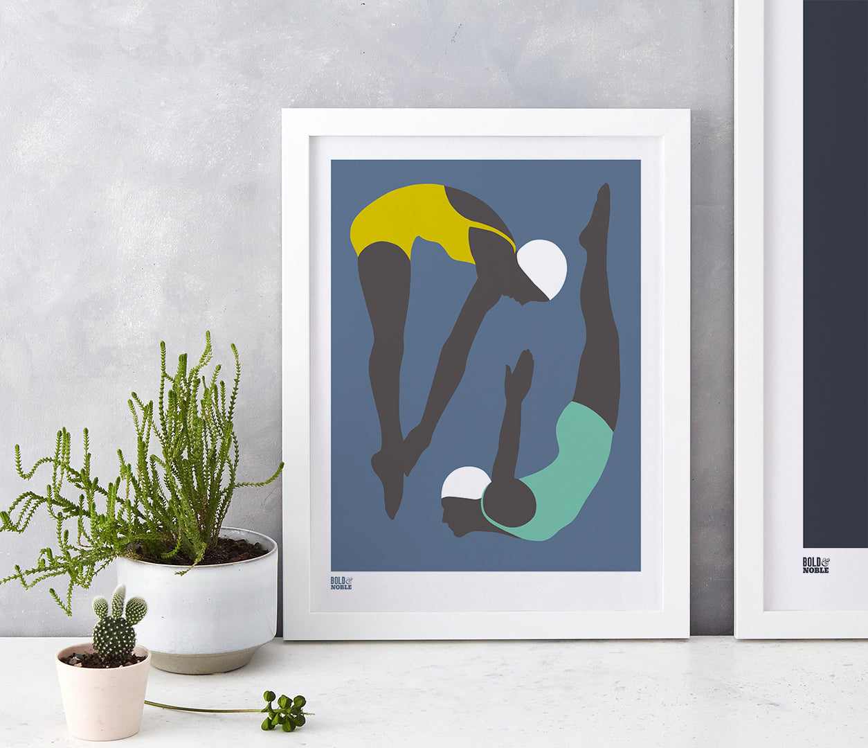 'Night Swimming' Art Print in Petrol Blue