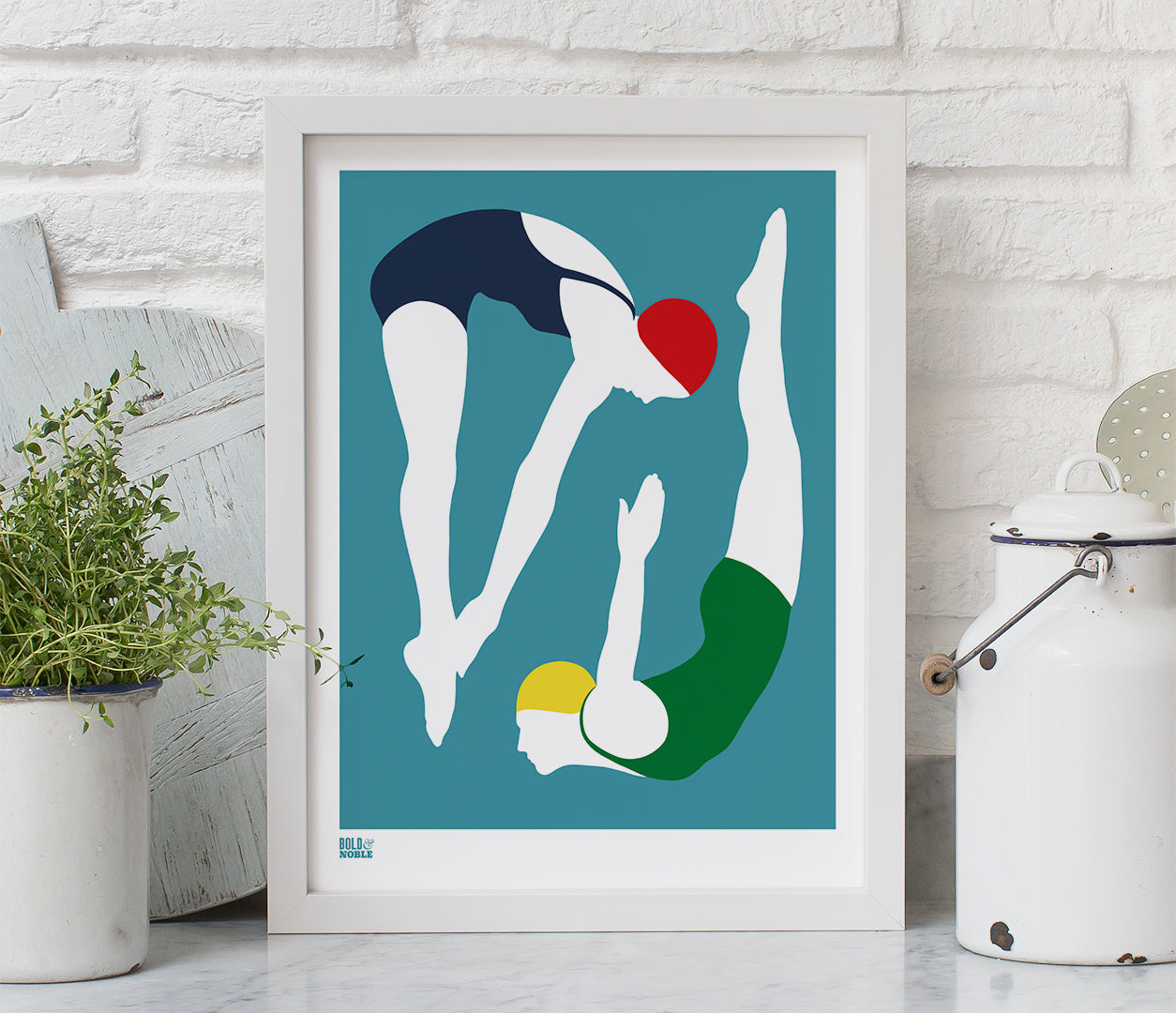 'Night Swimming' Art Print in Teal Blue
