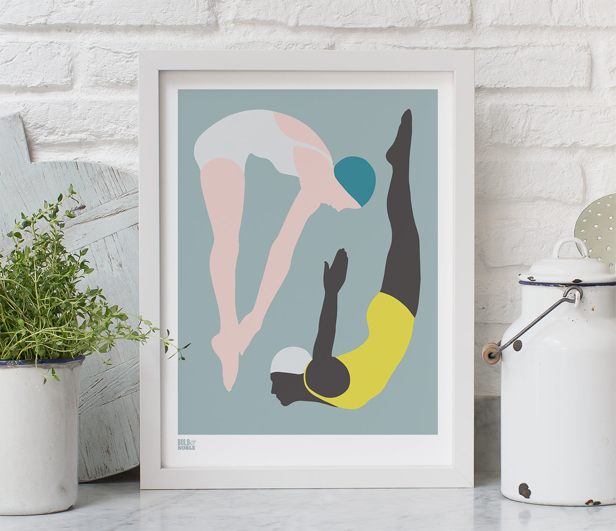 'Night Swimming' Art Print in Powder Grey