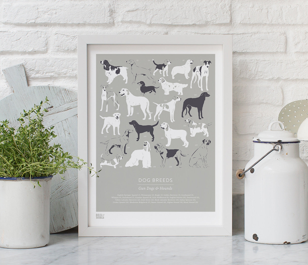 Wall Art ideas: Economical Screen Prints, Dog Breeds, Gun Dogs and Hounds in Putty