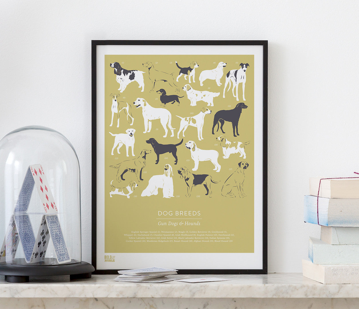 Dog Breeds: Gun Dogs and Hounds\' Art Print in Light Straw – Bold & Noble