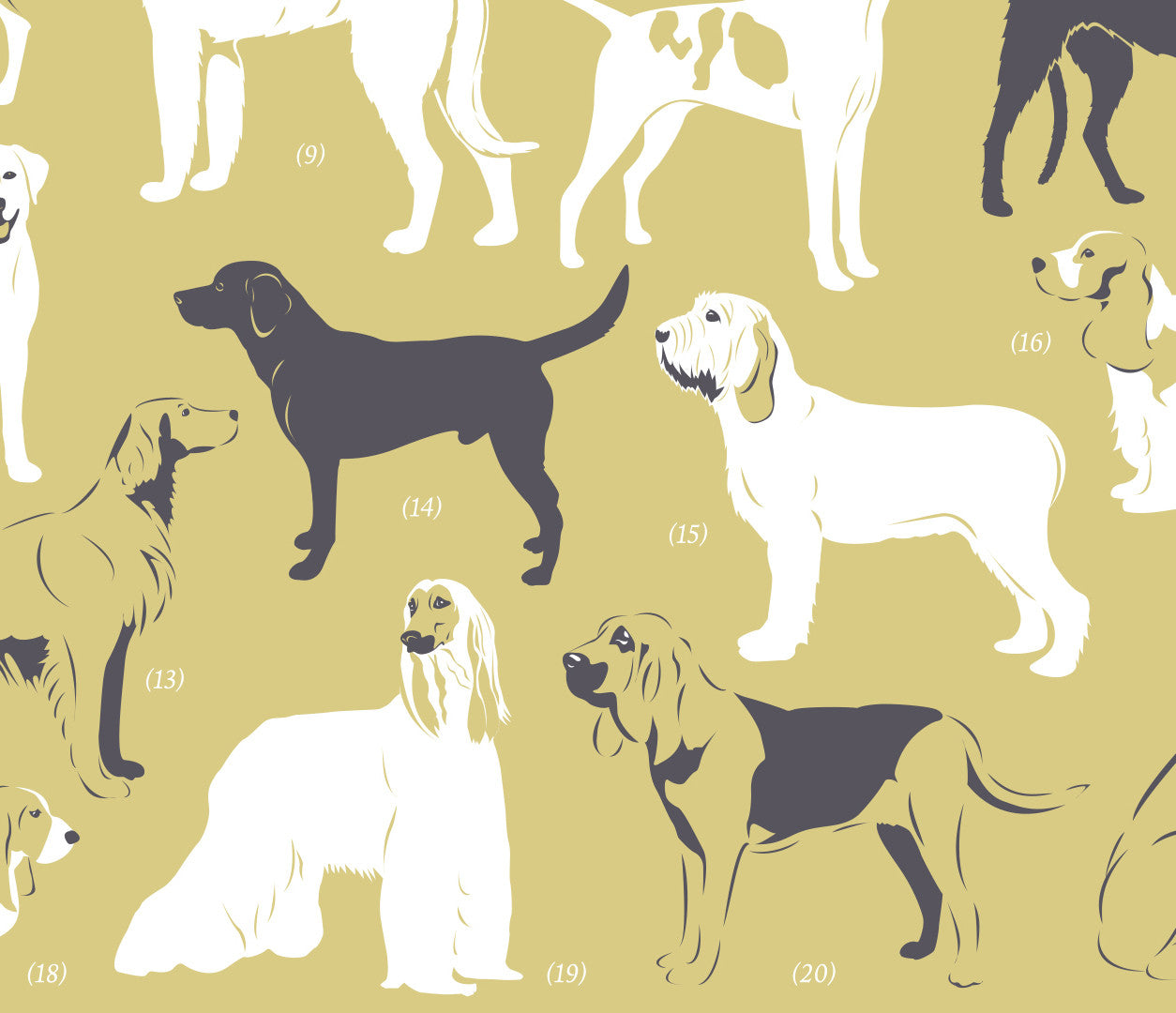 'Dog Breeds: Gun Dogs and Hounds' Art Print in Light Straw