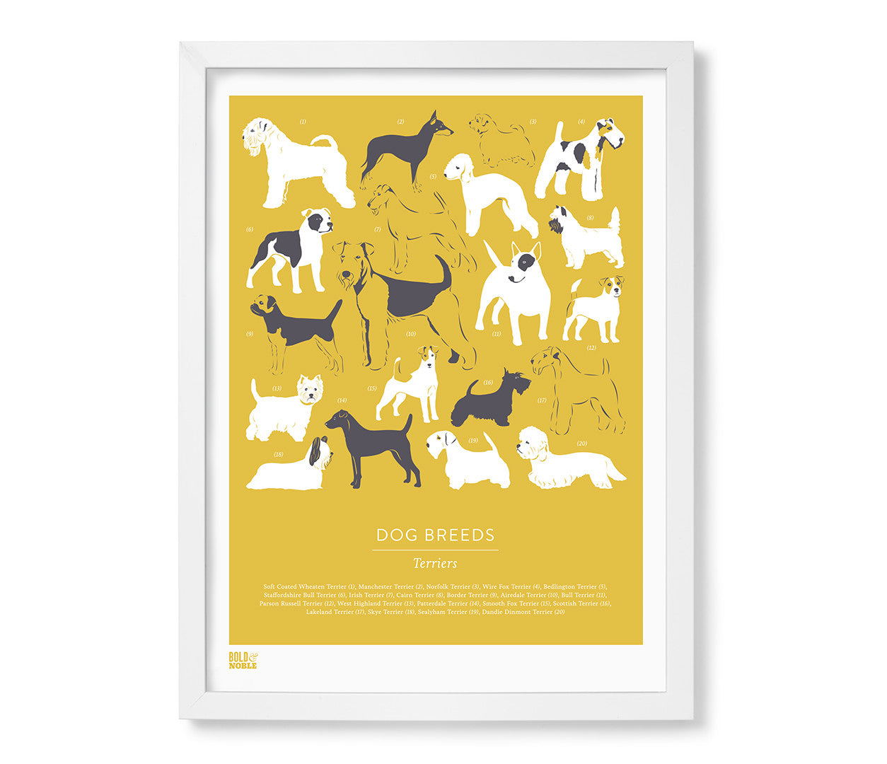 'Dog Breeds: Terriers' Art Print in Gold Hay