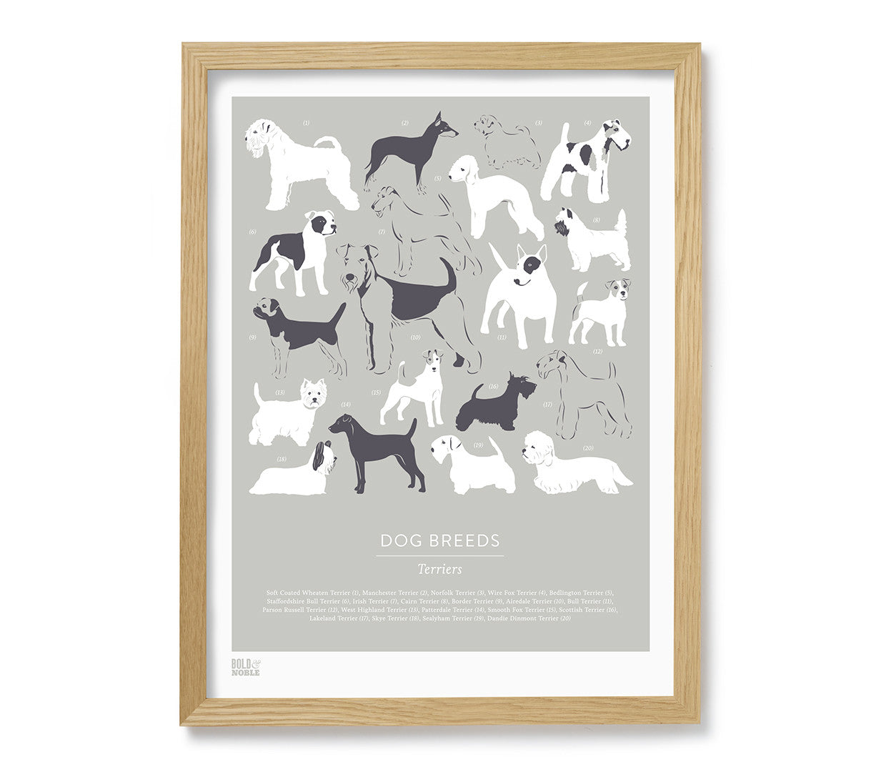 Dog Breeds: Terriers\' Art Print in Putty – Bold & Noble