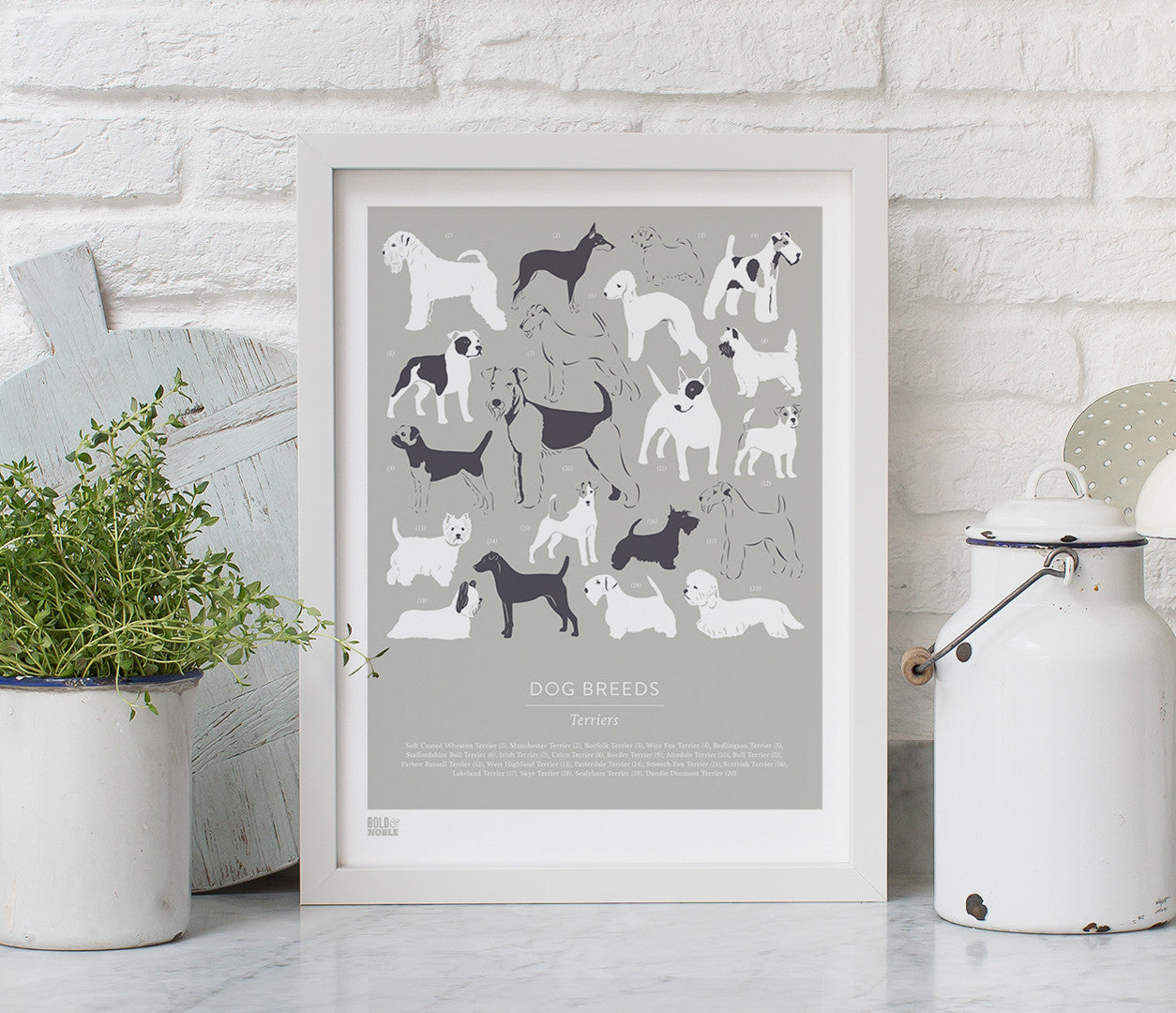 'Dog Breeds: Terriers' Art Print in Putty