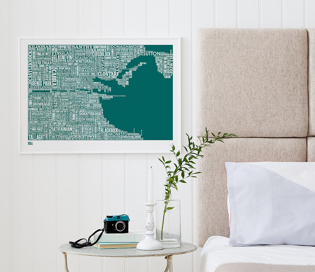 Wordle Dublin Map Wall Art Print, Screen Printed Poster in Emerald Green