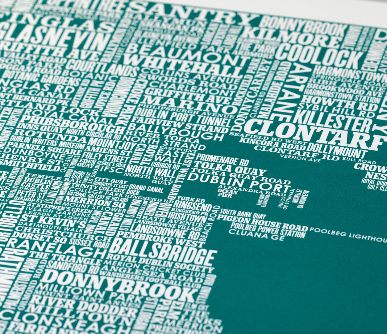 Close up of Dublin Type Map in Emerald Green, screen printed poster