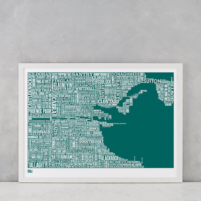 Dublin Type Map in Emerald Green, screen printed on recycled card, delivered worldwide