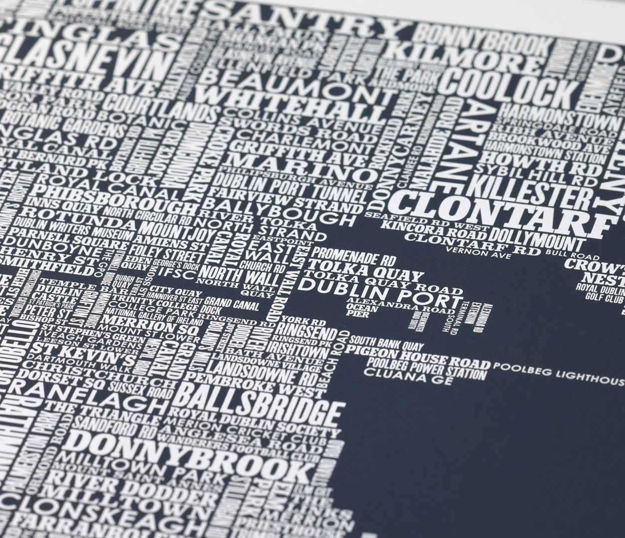 Close up of Dublin Type Map in Sheer Slate, screen printed poster