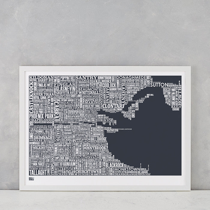 Dublin Type Map in Sheer Slate, screen printed on recycled card, delivered worldwide