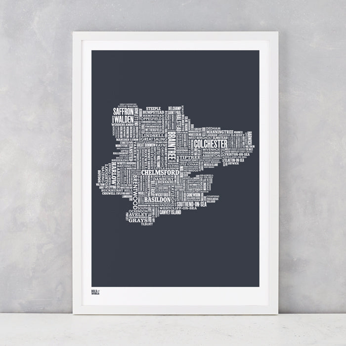 Essex Type Map in sheer slate, printed on recycled card, delivered worldwide