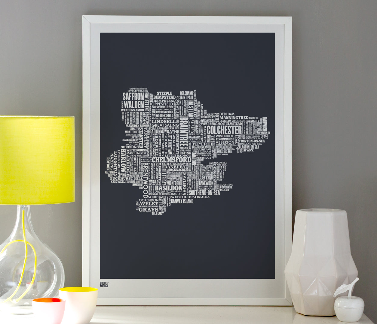 Wall Art ideas: Economical Screen Prints, Essex Type Map Word Print in sheer slate