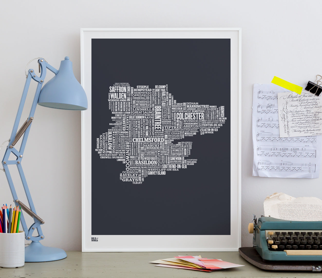 Pictures and Wall Art, Screen Printed Essex Type Map in sheer slate