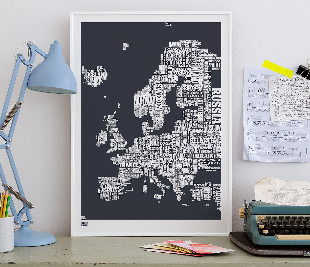 Wall Art ideas: Economical Screen Prints, Europe Type Map in sheer slate