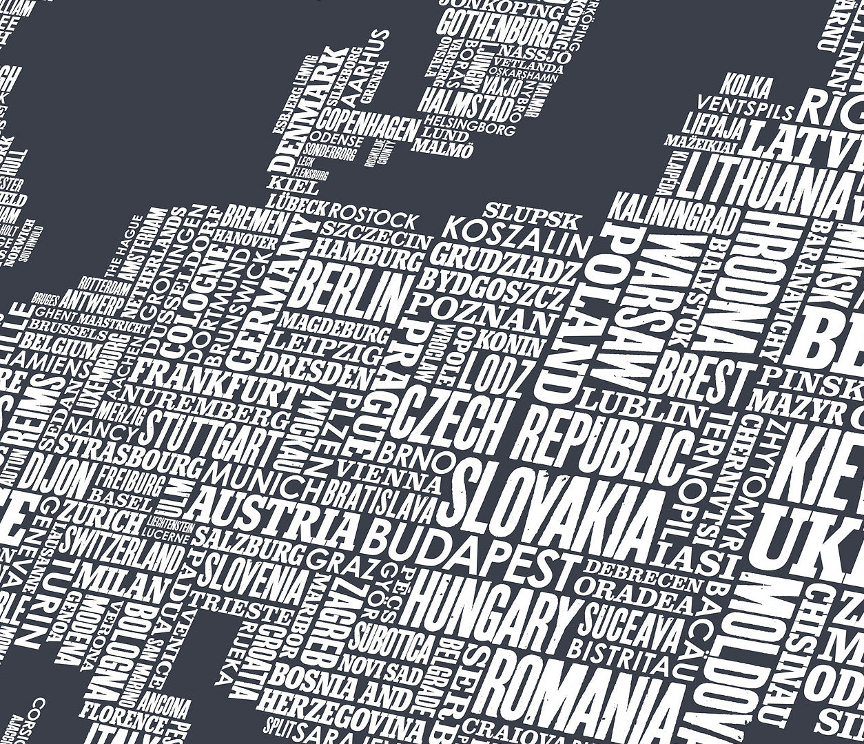 Close up of Europe Type Map in Sheer Slate, screen printed poster