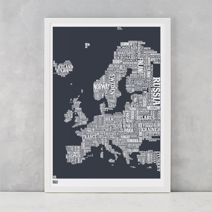 Europe Type Map in sheer slate, printed on recycled card, delivered worldwide