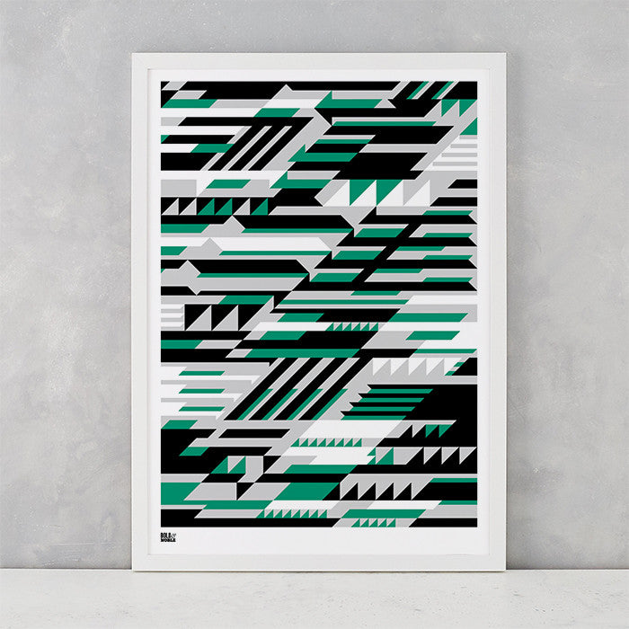 Geometric Faster Screen Print in green black and grey, printed on recycled card, delivered worldwide