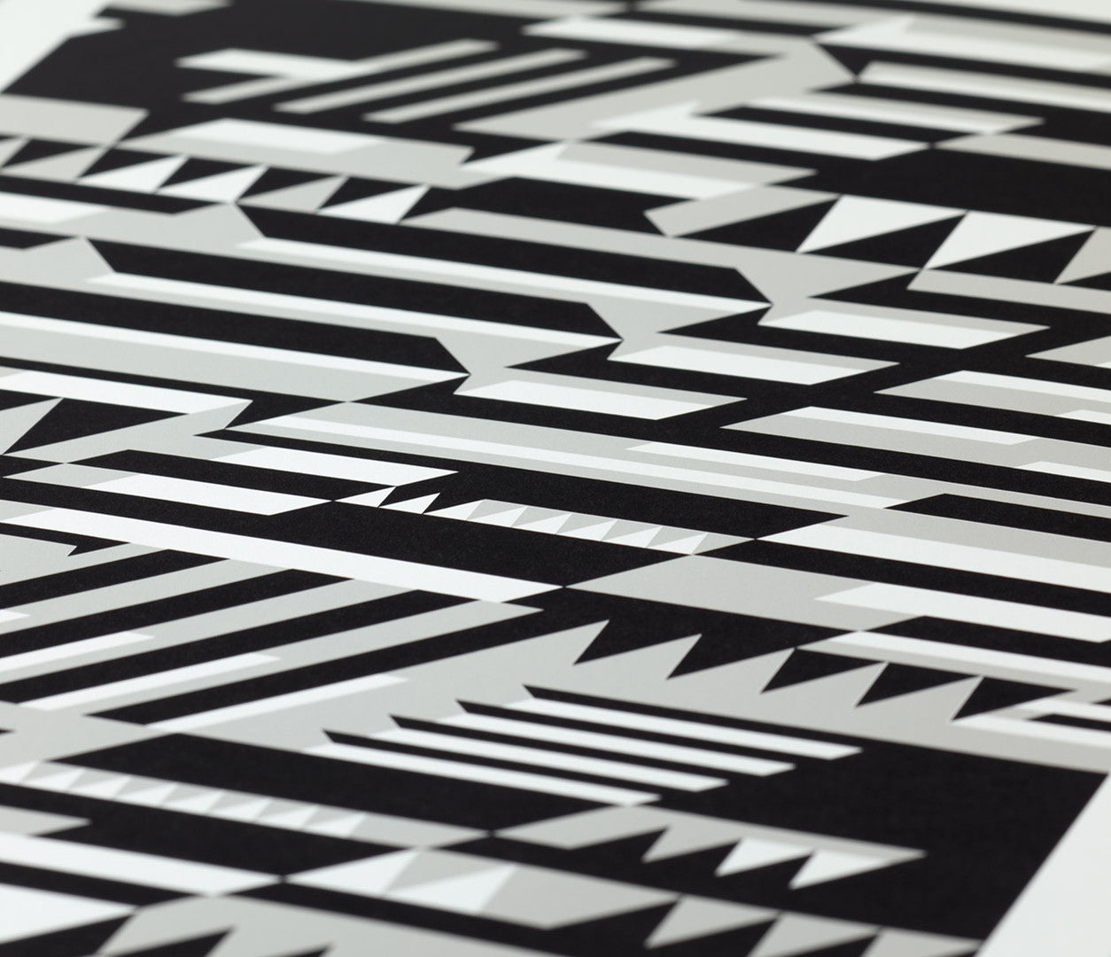 Close up of Faster Geometric screen print