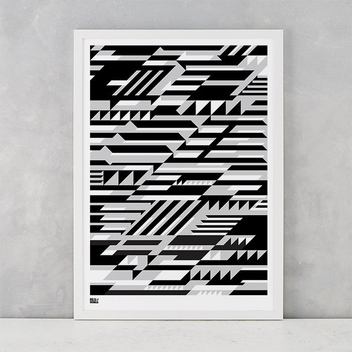 Geometric Faster Screen Print in black and grey, printed on recycled card, delivered worldwide