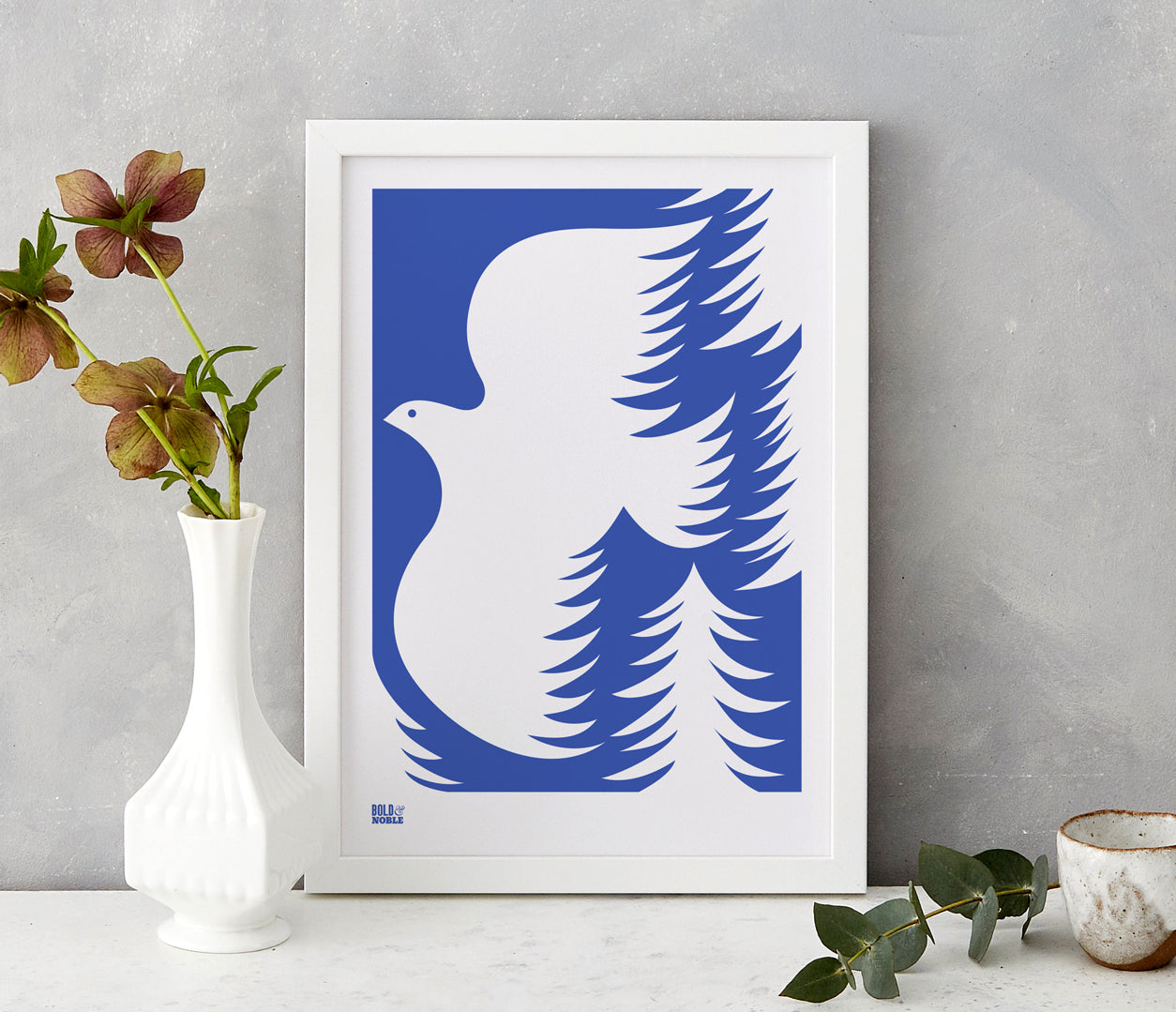 'Forest Dove' Art Print in Bright Blue