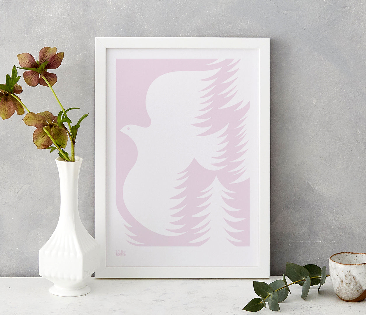 'Forest Dove' Art Print in Blush Pink