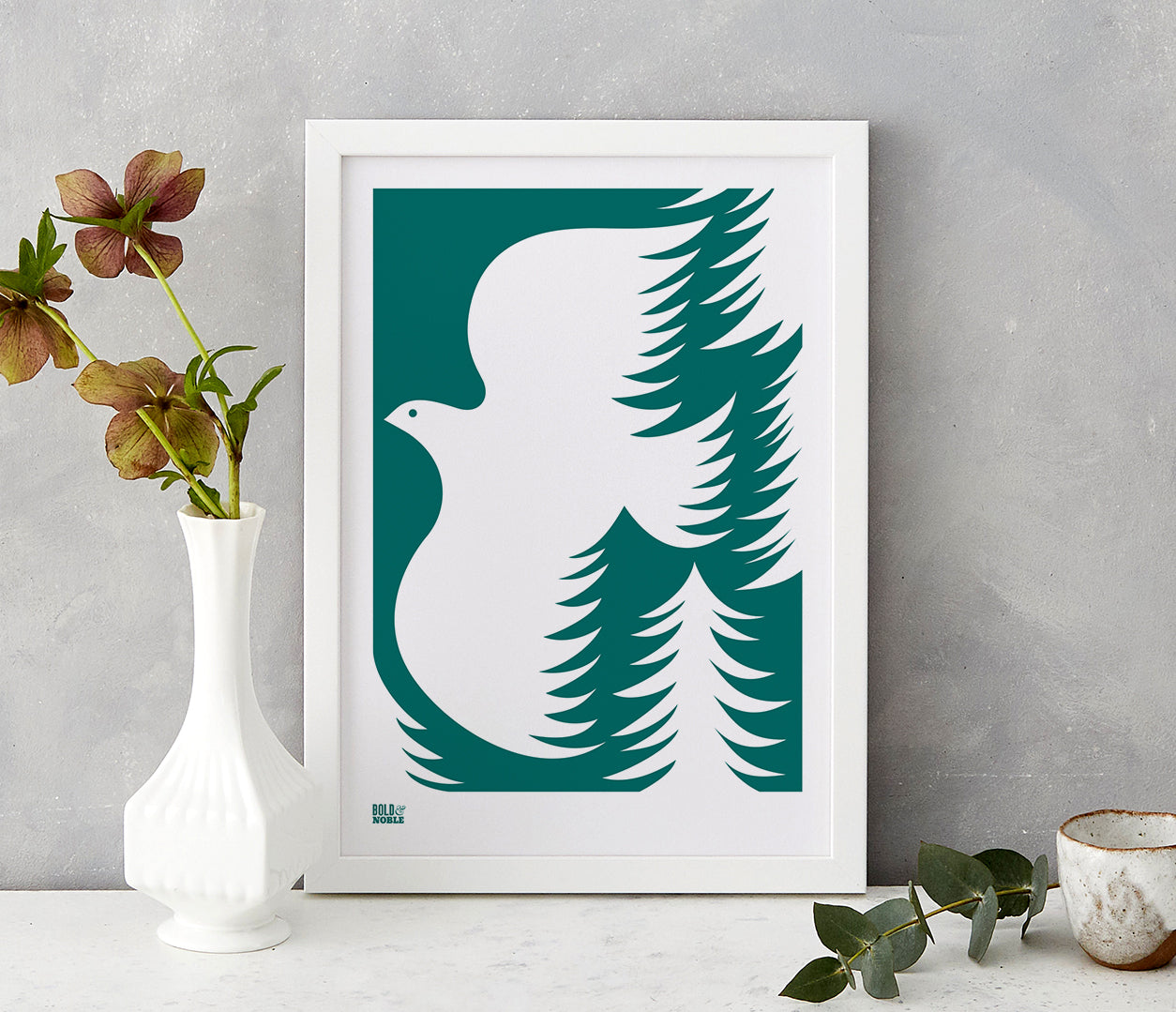 'Forest Dove' Art Print in Deep Sea Green