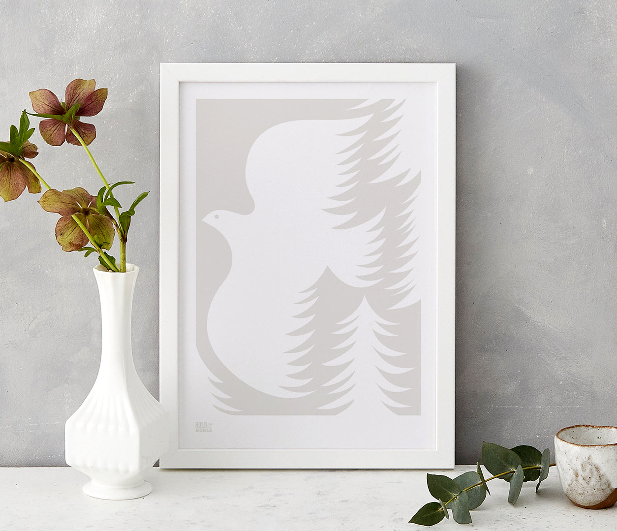 'Forest Dove' Art Print in Light Stone
