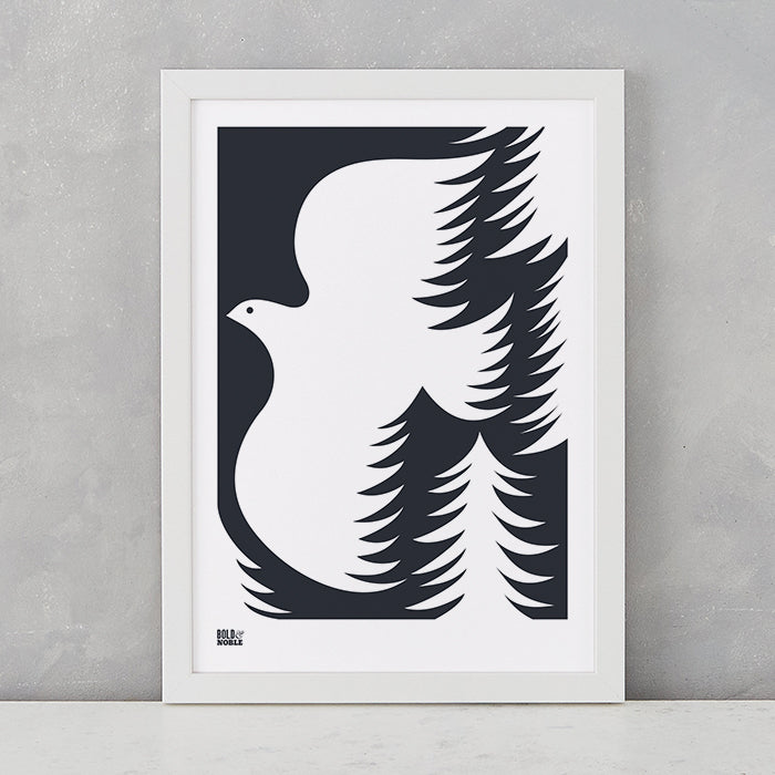 'Forest Dove' Art Print in Soft Black