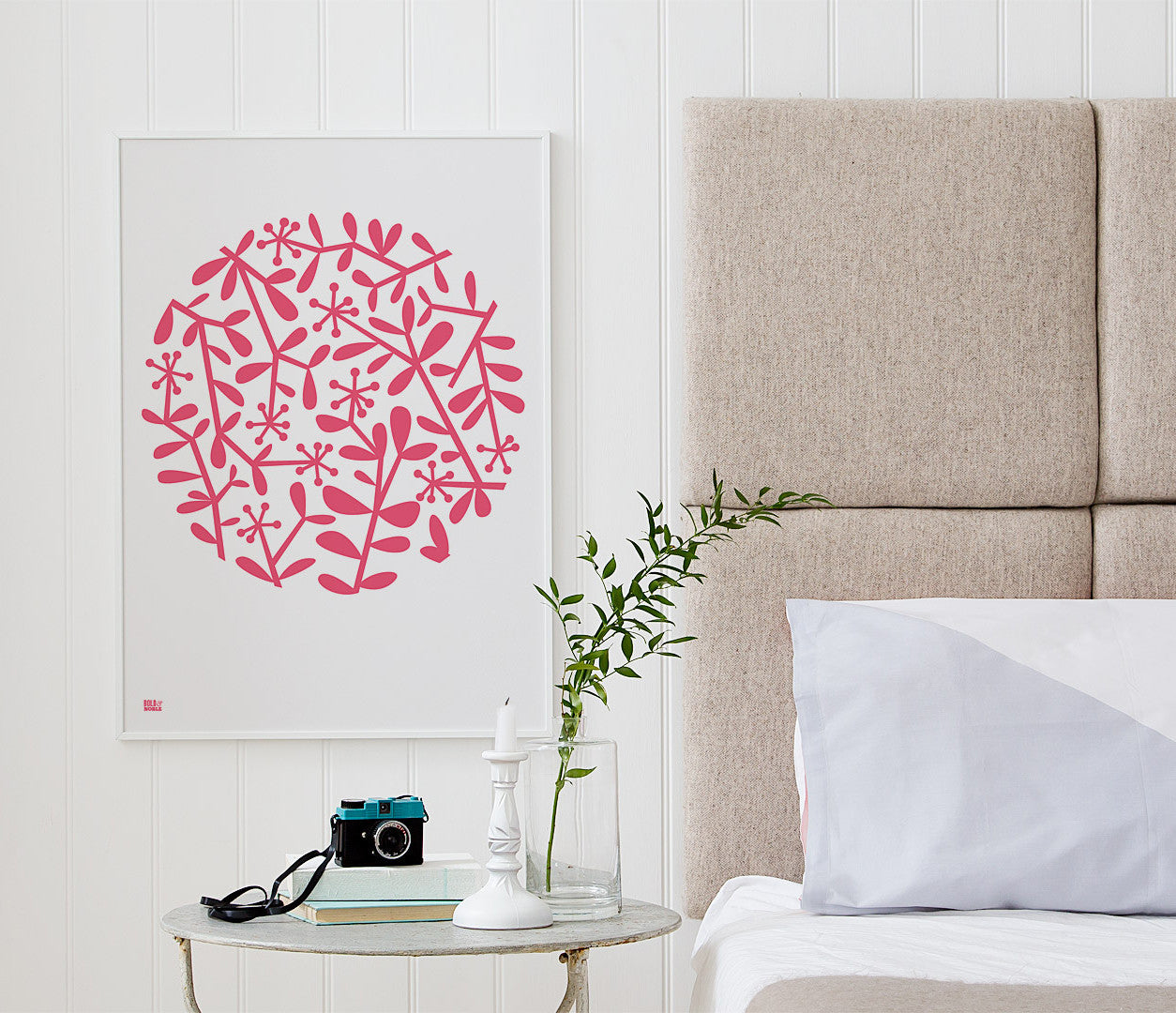 Wall Art ideas: Economical Screen Prints, Flora Leaf Pattern in Raspberry Sorbet