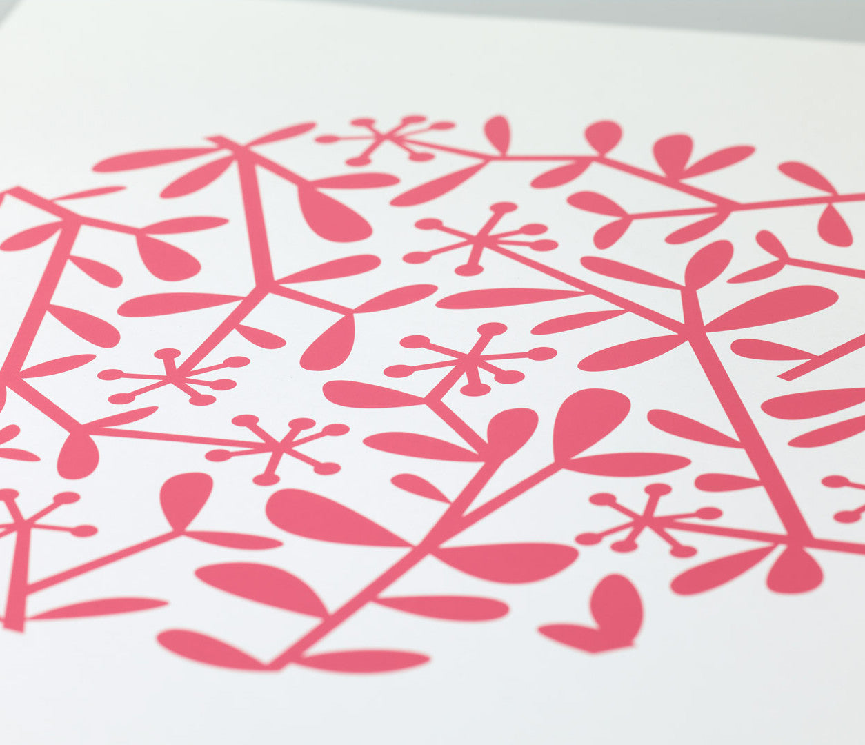 Close up of Flora Leaf screen print in raspberry pink