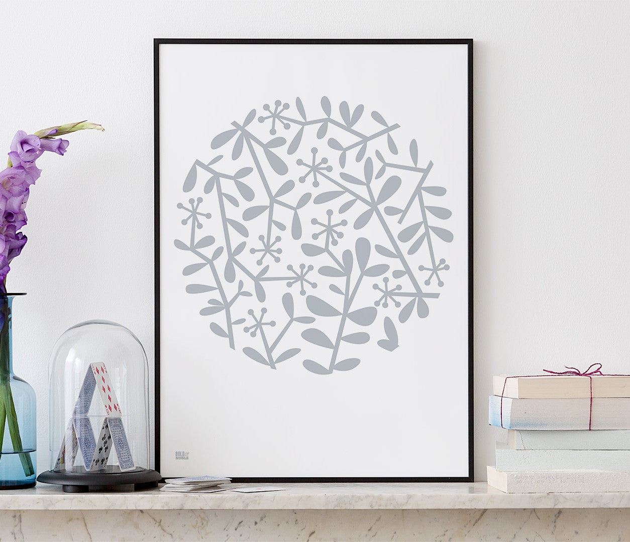 Wall Art ideas: Economical Screen Prints, Flora Leaf Pattern in warm grey