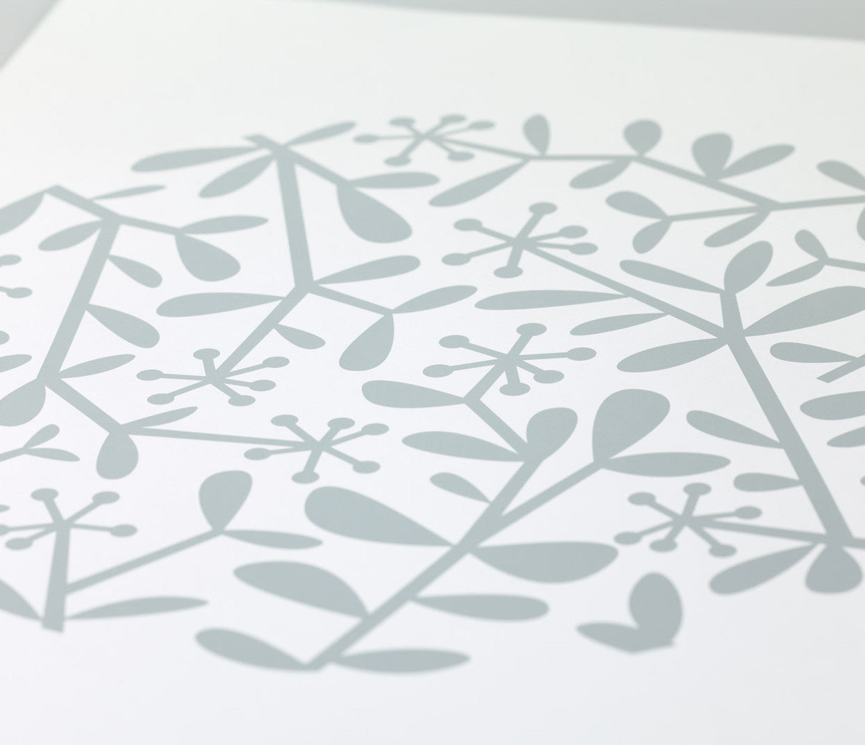 Close up of Flora Leaf screen print in warm grey