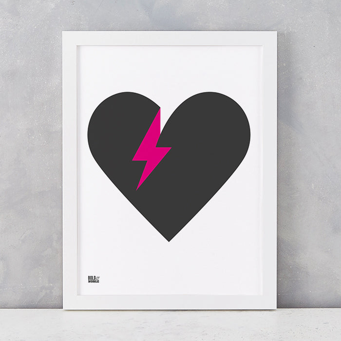 'Lightening Bolt Love' Art Print in Black