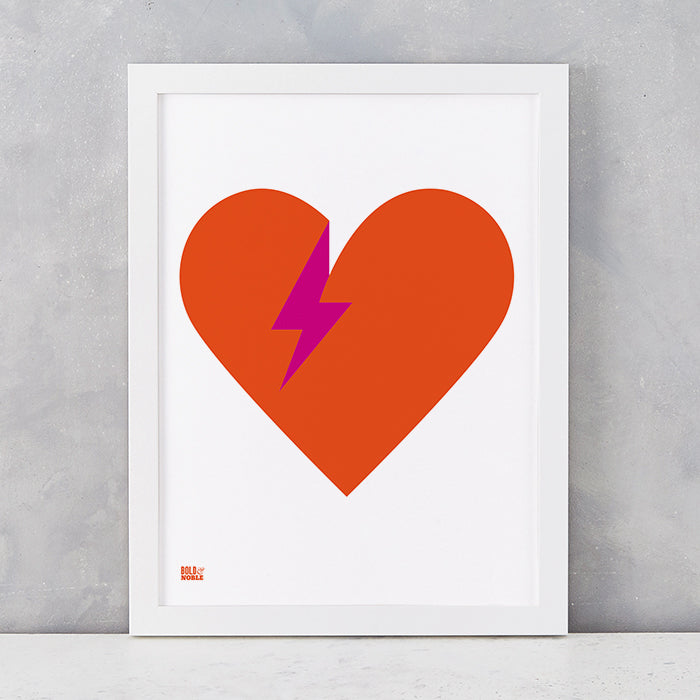 'Lightening Bolt Love' Art Print in Burnt Orange
