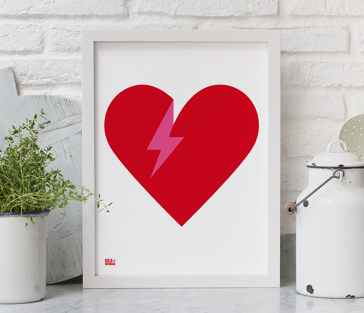 'Lightening Bolt Love' Art Print in Red