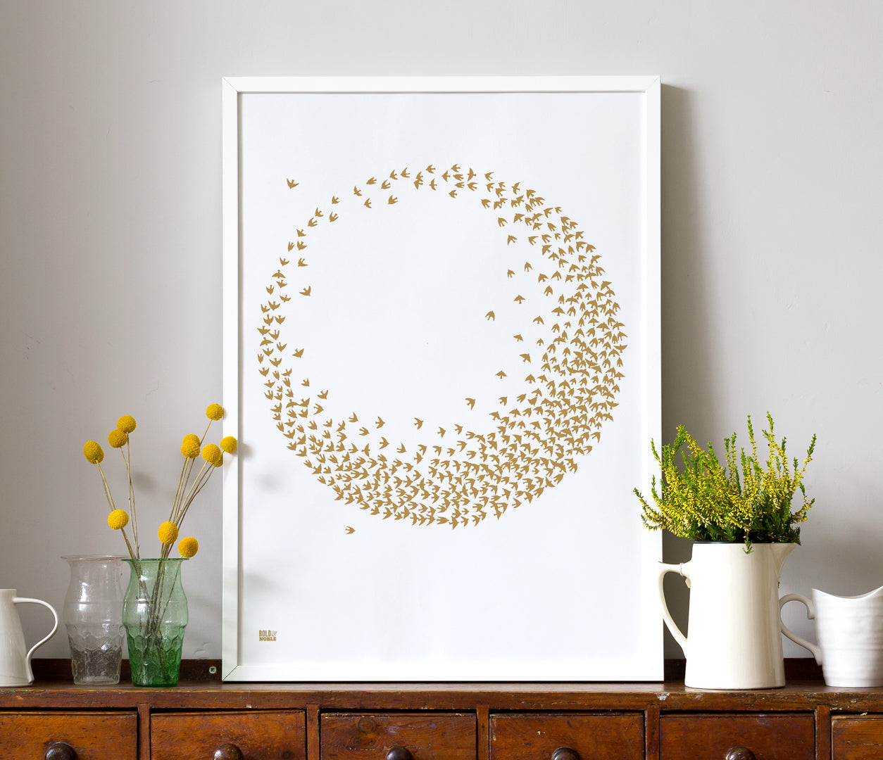 Wall Art ideas: Economical Screen Prints, Flocking Birds in Bronze