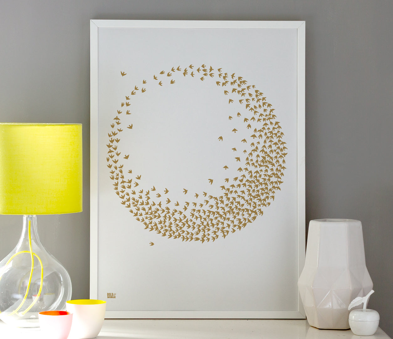 Pictures and Wall Art, Screen Printed Flocking Birds in Bronze