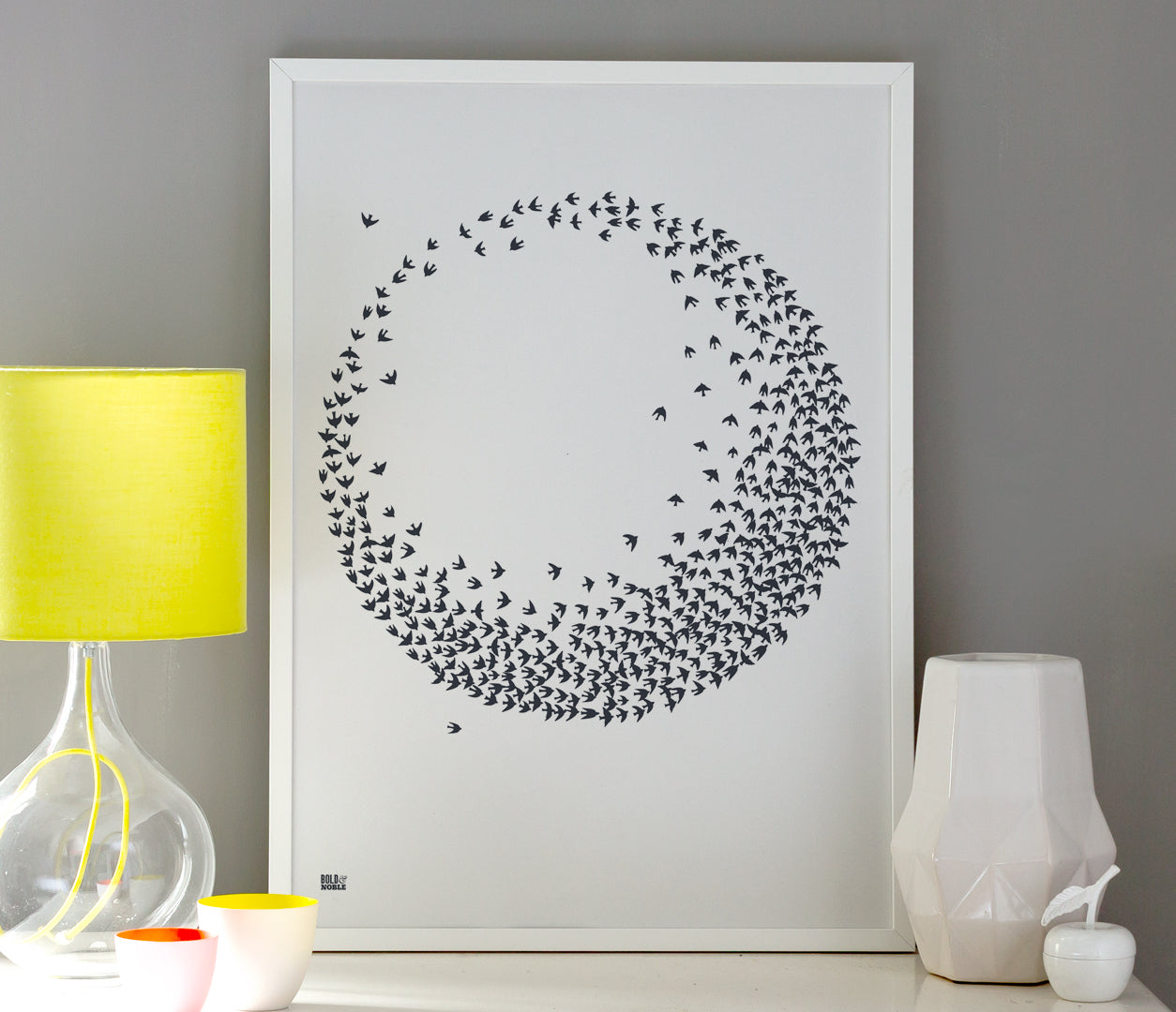 Wall Art ideas: Economical Screen Prints, Flocking Birds in Sheer Slate