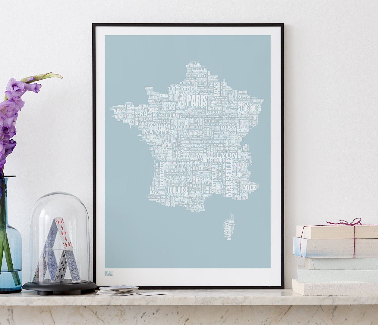 Pictures and Wall Art, Screen Printed France Type Map in Duck Egg Blue