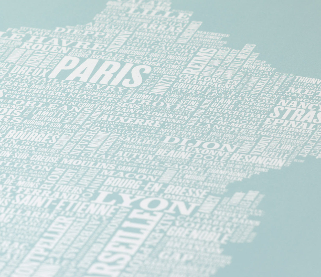 Close up of France Type Map in Duck Egg Blue, screen printed poster