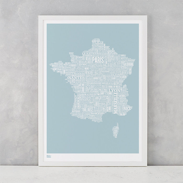France Type Map in Duck Egg Blue, screen printed on recycled card, delivered worldwide