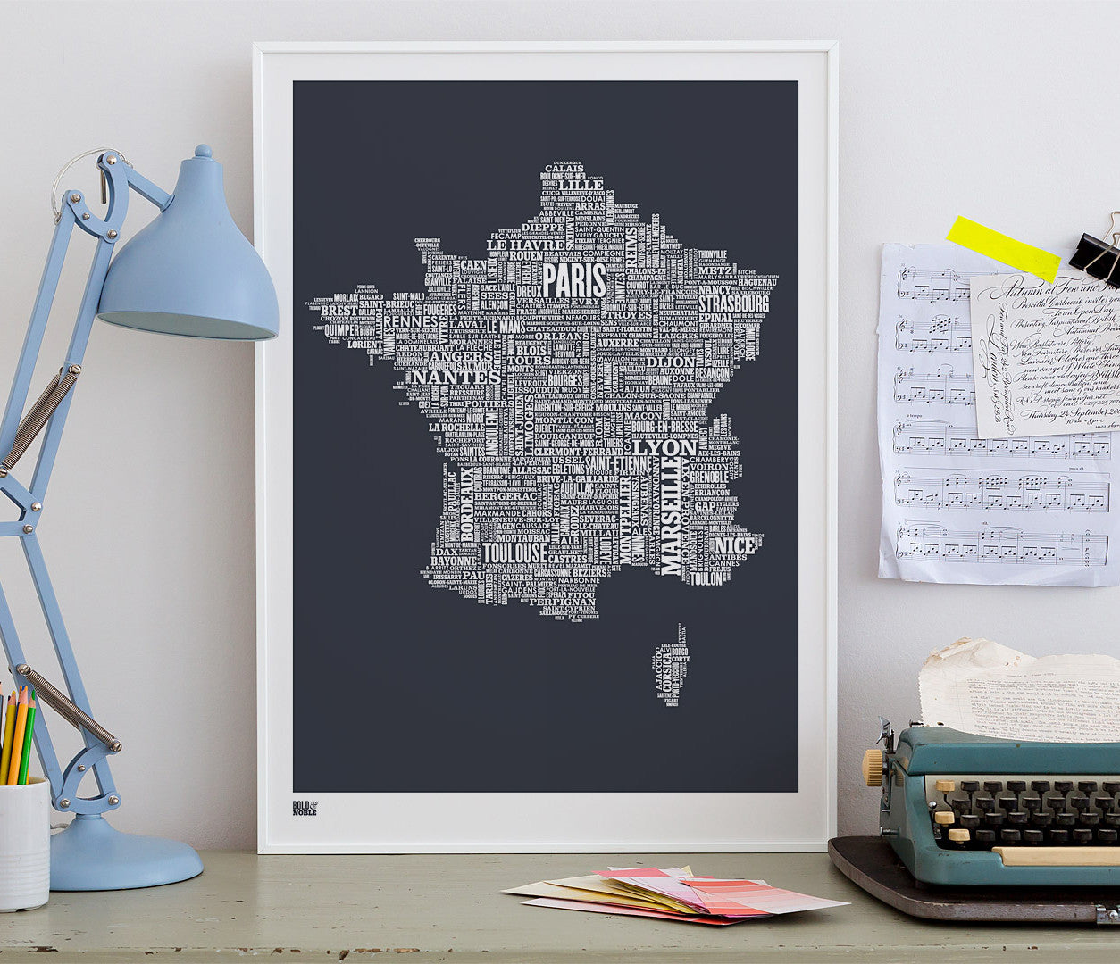 Wall Art ideas: Economical Screen Prints, France Type Map in sheer slate