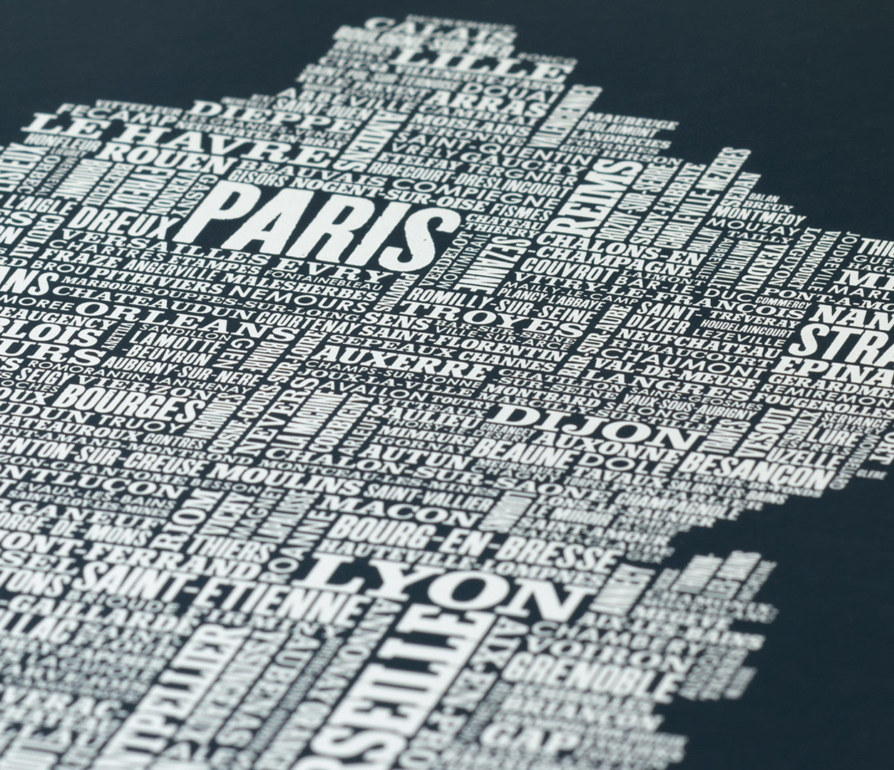 Close up of France Type Map in Sheer Slate, screen printed poster